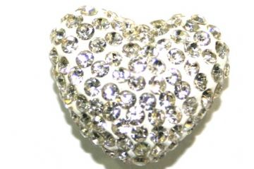 Clear Pave Crystal Half Drilled Heart / Bail Supplied Separately